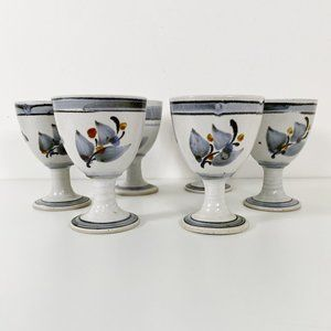 Set of 6 Signed Studio Pottery Wine Glasses